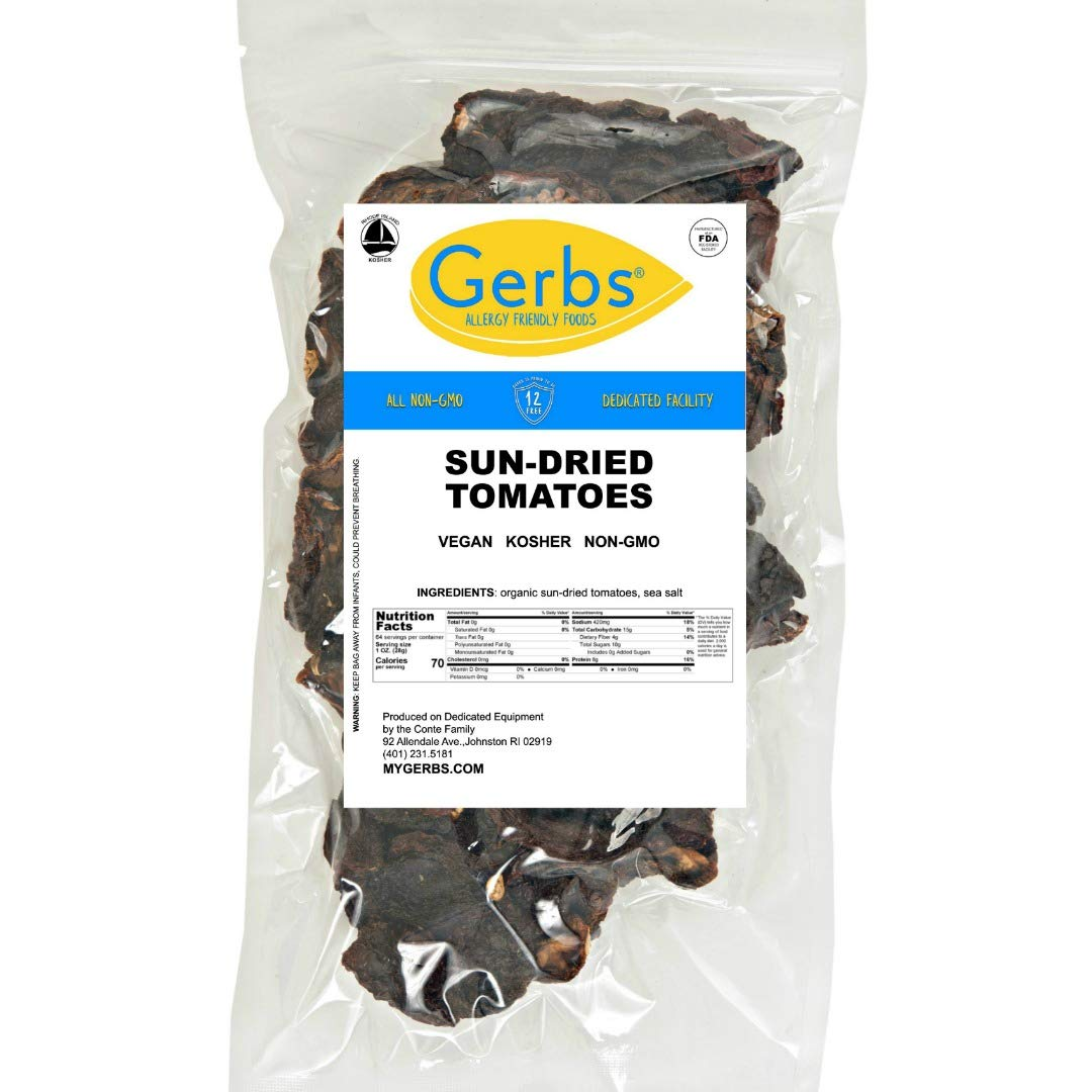 GERBS Sun Dried Tomatoes, 64 ounce Bag, Unsulfured, Preservative, Top 14 Food Allergy Free