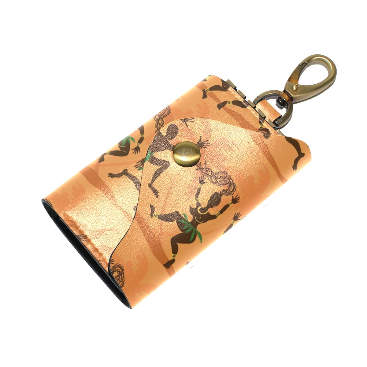 KEAKIA Dancing African Aborigines Leather Key Case Wallets Tri-fold Key Holder Keychains with 6 Hooks 2 Slot Snap Closure for Men Women