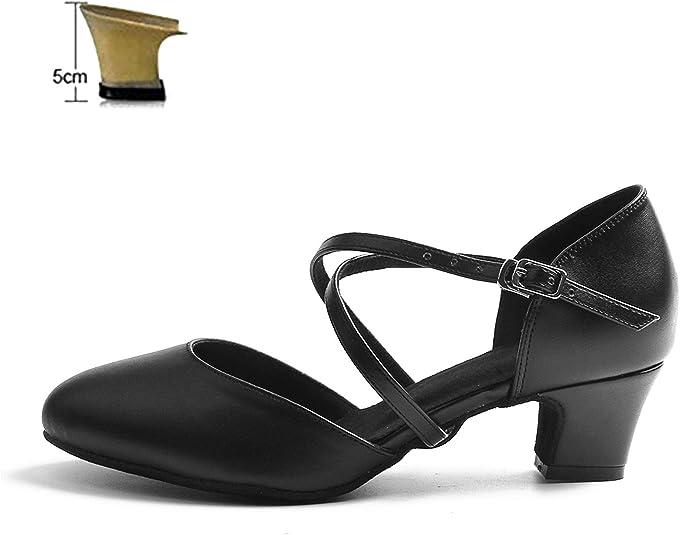 Naudamp Femmes Bandouli/ère en Cuir Salsa Danse Salle de Bal Latin Talons Hauts Danse Chaussures
