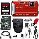 Cheap Panasonic DMC-TS30R LUMIX Tough Camera (Red) +32GB U3 SDHC + 2 Extra Batteries