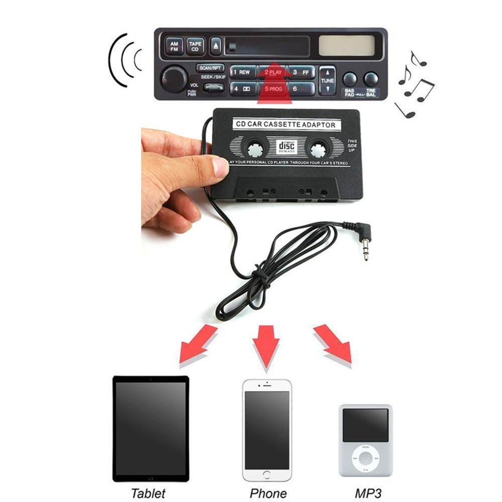 Vansee❤❤3.5mm AUX Car Audio Cassette Tape Adapter Transmitters for MP3 iPod CD MD iPhone