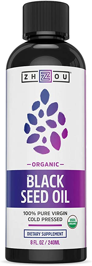Zhou Organic Black Seed Oil   100% Virgin   Cold Pressed Omega 3 6 9   Super antioxidant for Immune Support, Joints, Digestion, Hair & Skin   8oz