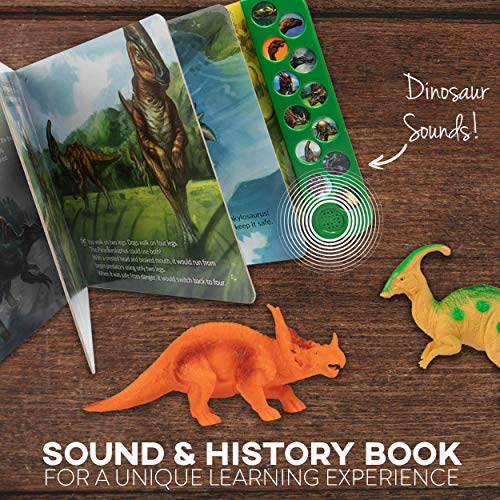 """Li'l-Gen Dinosaur Toys for Boys and Girls 3 Years Old & Up - Realistic Looking 7"""" Dinosaurs, Pack of 12 Animal Dinosaur Figures with Dinosaur Sound Book (Dinosaur Set with Sound Book)"""
