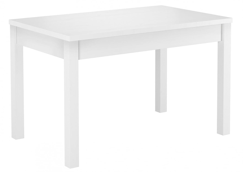 90.70-53 W Tisch Esstisch weiß Massivholztisch 120x75 cm