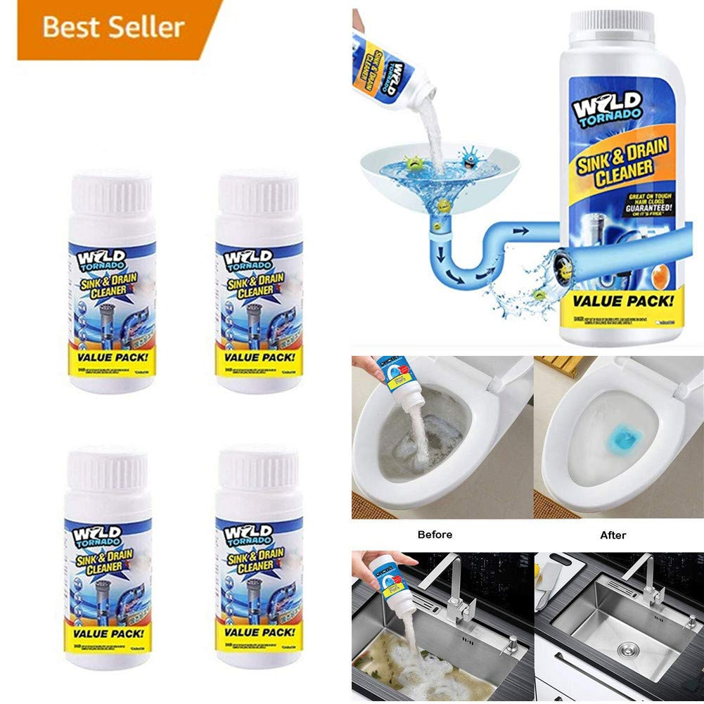 Powerful Sink and Drain Cleaner Chemical Powder Agent, Hair & Grease Clog Remover   Drain Opener   Drain Cleaner   Toilet Clog Remover (4 Pack)