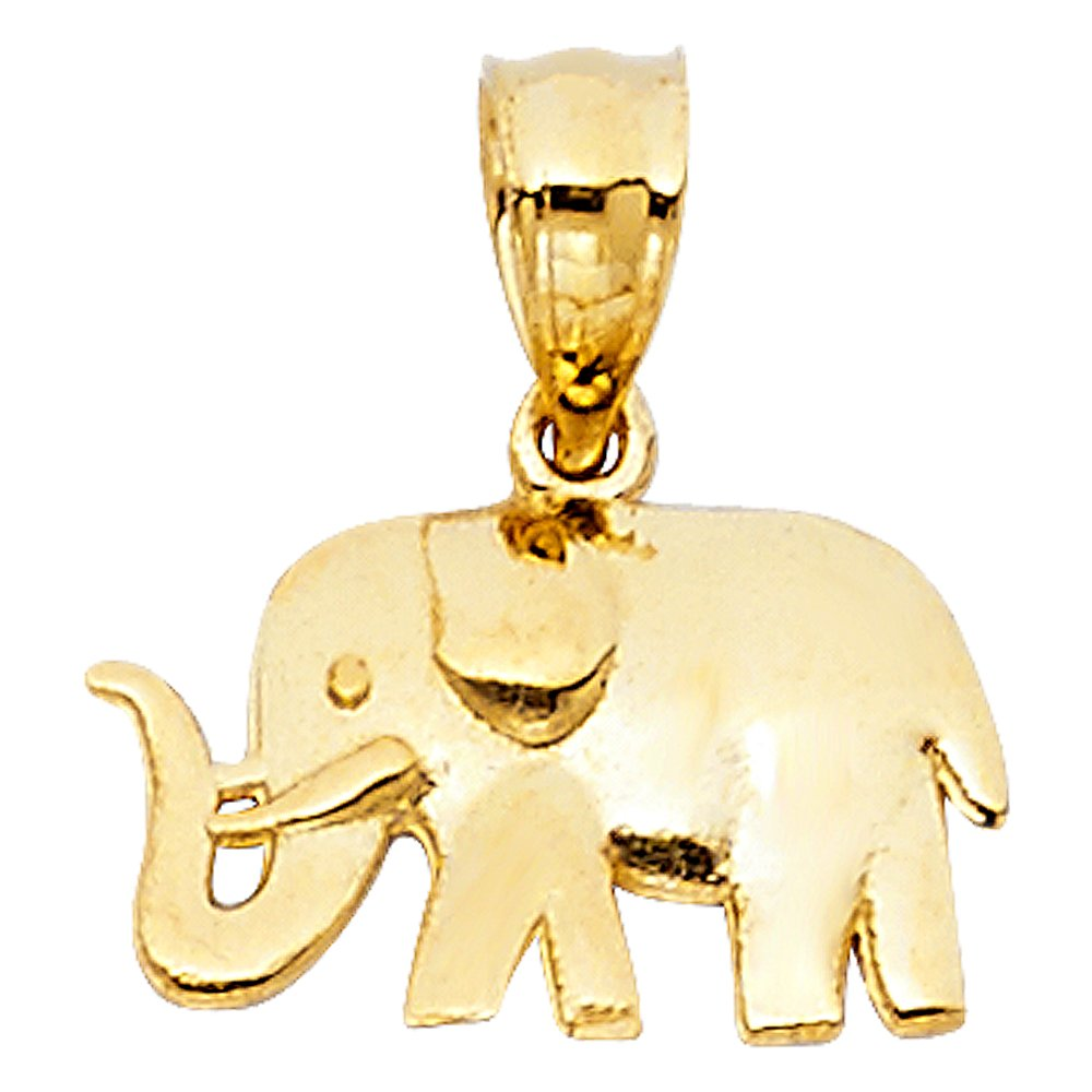 8mm x 13mm Million Charms 14k Yellow Gold Small//Mini Elephant Charm Pendant