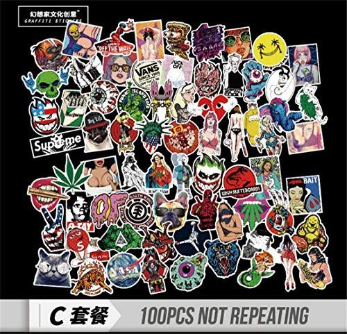 LOSOUL 100 PCS tickers Decals Vinyls|Perfect To Graffiti Your Laptop, Skateboard, Luggage, Car, Bumper, Bike, Hard Hat