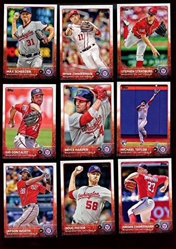 Washington Nationals 2015 Topps MLB Baseball Regular Issue Complete Mint 22 Card Team Set with Bryce Harper, Max Scherzer, Stephen Strasburg Plus (Washington Card Nationals)