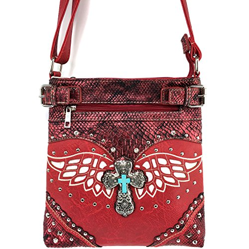 Wing Red Justin Messenger West Strap Laser with Western Cross Gleaming CrossBody Cut Turquoise Handbag gIRIOxwqF
