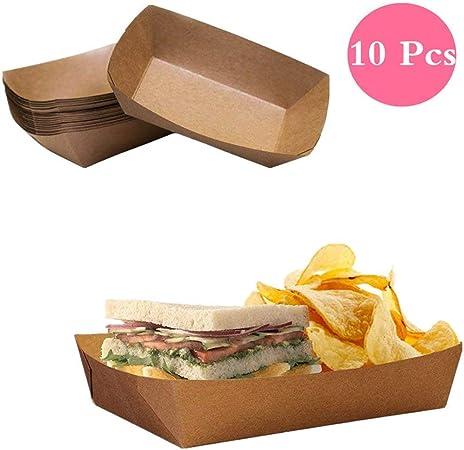 Vikenner Bandeja de Alimentos de Papel Kraft de 10 Piezas Bandejas de cartón Desechable Caja de empaque de Comida rápida para Salchichas de Hamburguesas Hot Dog Snacks - Marrón: Amazon.es: Hogar