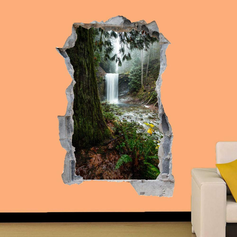 Peel and Stick Vinyl Stickers,Nature Forest Waterfall Scenery Wall Sticker Art 3D Poster Sticker Mural-50CMx70CM