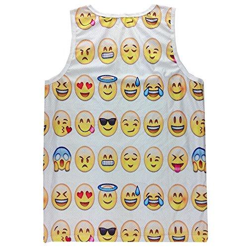 GuPoBoU168 Cute Hip Hop Emoji 3D Cartoon Pattern Print Reseau Jogger Tank Top L