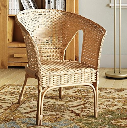 Wicker Rattan Chair Vintage Shabby Chic Armchair Hallway Bedroom Traditional Furniture White Natural Honey Colour Solid Wood Living Room Classic...