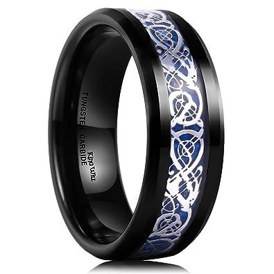 King Will Dragon 8mm Mens Celtic Dragon Tungsten Carbide Wedding