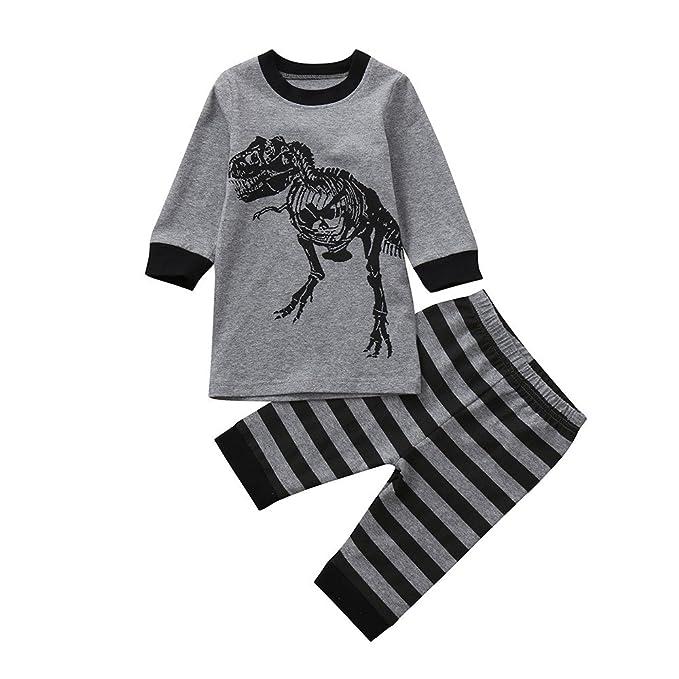 d589e7ea0 Amazon.com  XUANOU Children s Boys Girls Long Sleeve Dinosaur Stripe ...