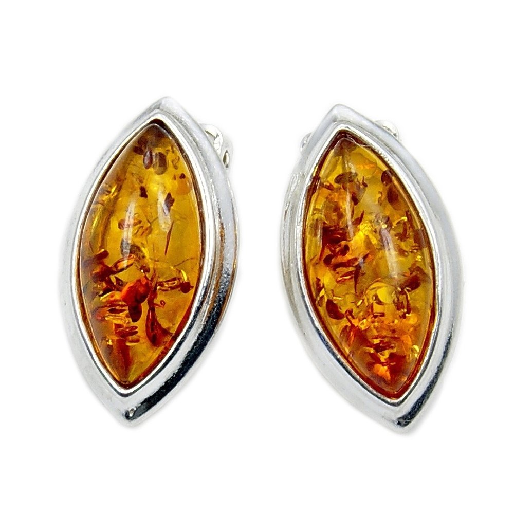 Elegant Sterling Silver Natural Baltic Amber Clip On Earrings