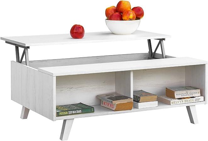 Comifort Table Basse Avec Plateau Relevable Table De Salon Fonctionelle Avec Rangement Et Compartiments Résistants Moderne Pieds En Hêtre 100