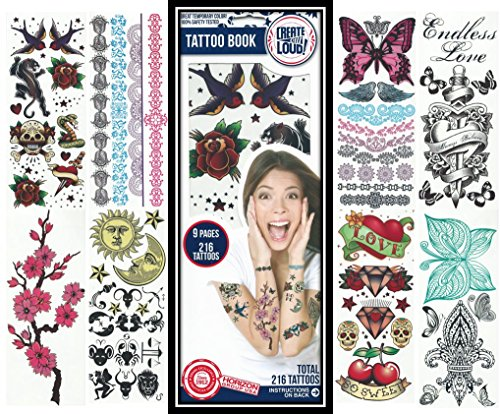 Temporary Tattoos ✮ 216 Color Temporary Tattoo Designs ✮ Traditional, Boho, Mandala Designs ✮ 9 Full Color Sheets ✮ Bracelets, Wrist, and Arm Wraps ✮ Removable High Resolution Tattoo (Boho Designs)