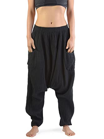 8a73ae42720 Forgotten Tribes Crinkled Cotton Harem Pants From Black White or Brown -  Ideal Mid Season