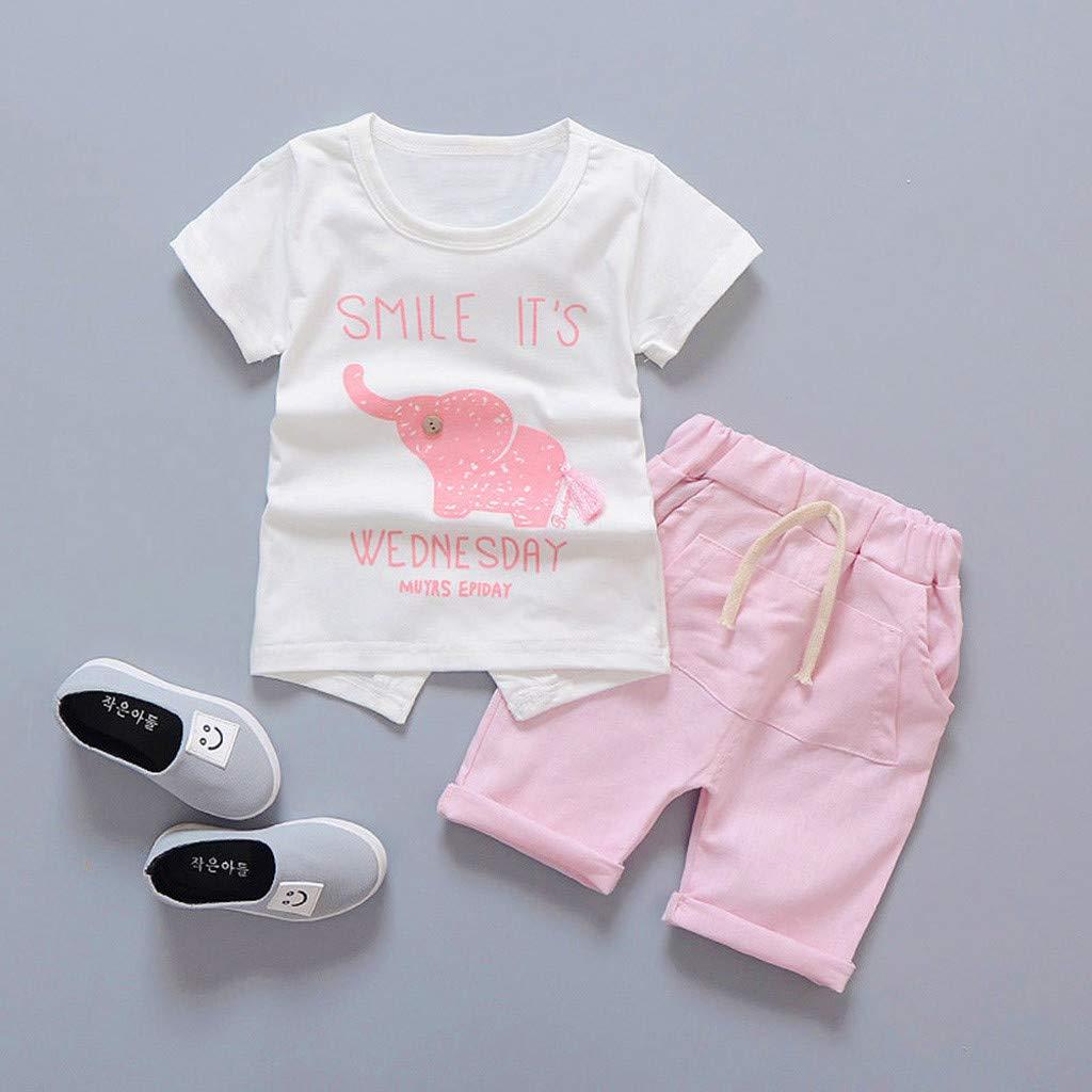 Womola Toddler Kids Baby Girl Clothes 2pcs Outfits Short-Sleeved Cartoon Elephant Print Shirt t-Shirt Shorts Set