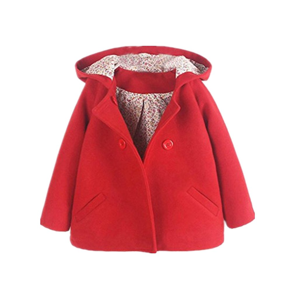 Huhu833 Baby Jacke Baby Mantel, Kleinkind Kinder Baby Mädchen Winter Floral Kapuzen Mantel Mantel Jacke Dicke Warme Kleidung