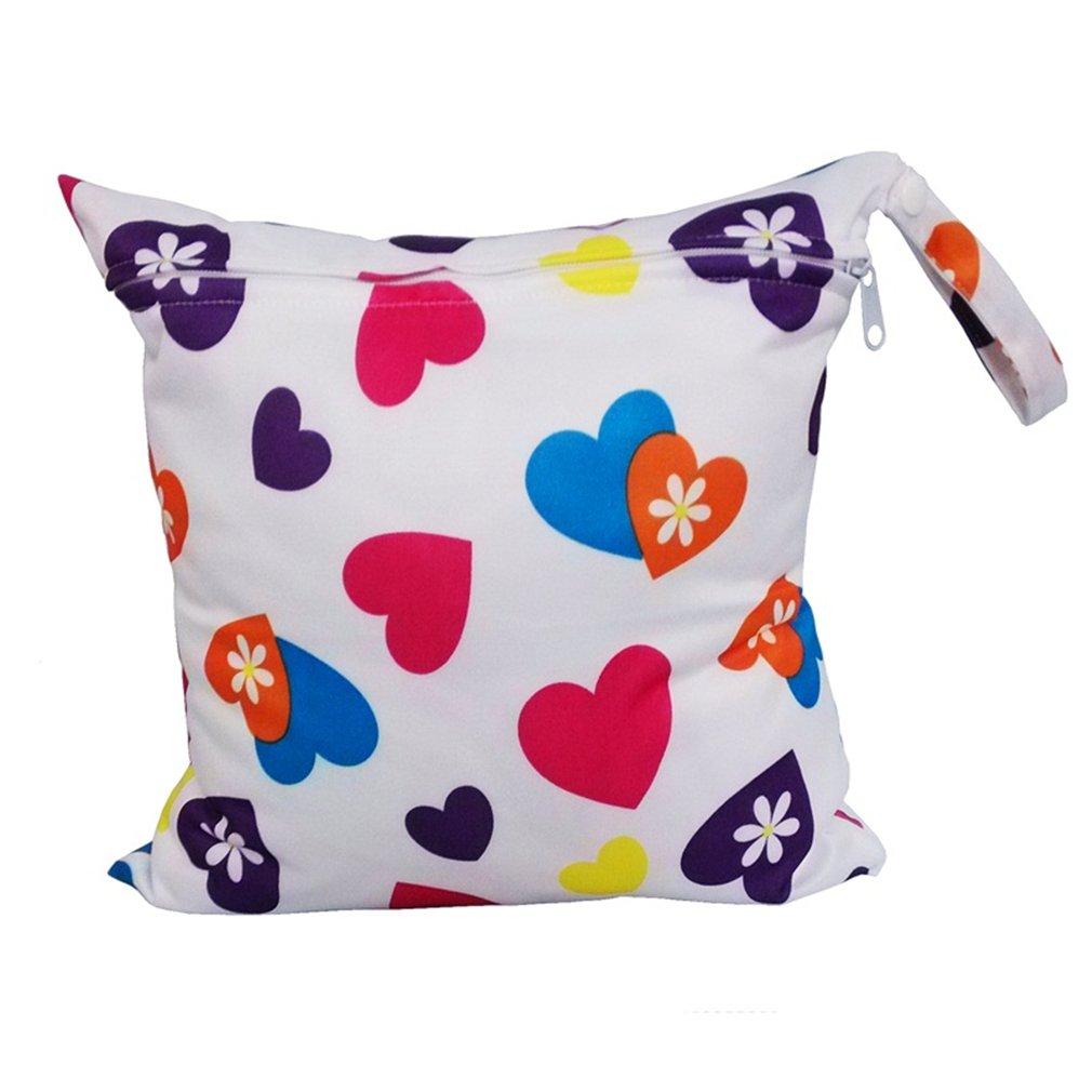 Bolsa de pañales para bebé VWH, impermeable, lavable, reutilizable rosa y marrón (love) Yingwei