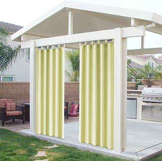 DOMDIL - Cortinas para exteriores con cierre de velcro, resistentes al agua, resistentes a la harina, para cenador, 2 unidades, 132 x 215 cm, color amarillo: Amazon.es: Jardín
