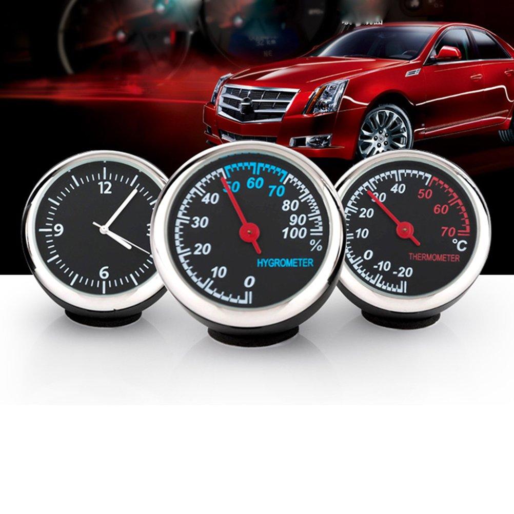 WINOMO Set di orologio e igrometro e termometro di auto luminoso per interno di auto 3/pezzi