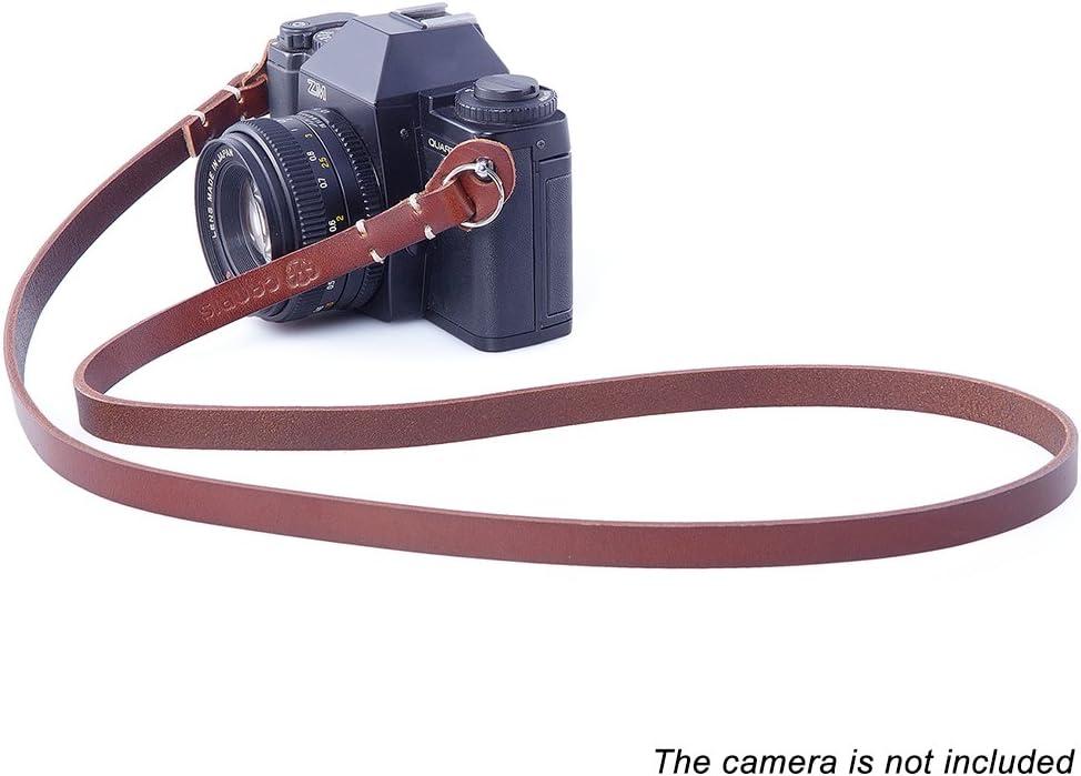 CANPIS Leather Camera Strap Vintage Camcorder Shoulder Neck Strap Belt for Leica Fujifilm SLR Mirrorless Camera Brown