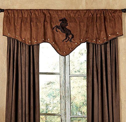 Black Forest Decor Chestnut Suede Horse Western Valance - Western Window Accessories