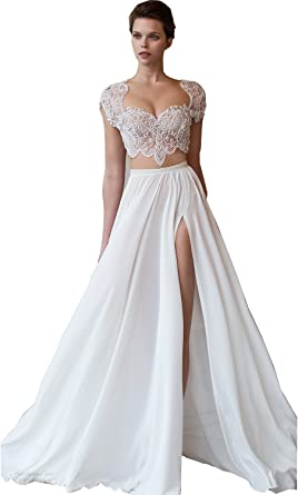 Newdeve High Split Crystal Square Neck White Two Piece Wedding