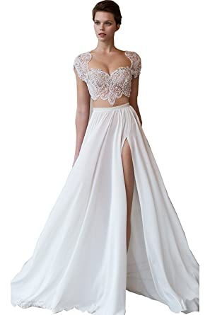 Newdeve High Split Crystal Square Neck White Two Piece Wedding ...