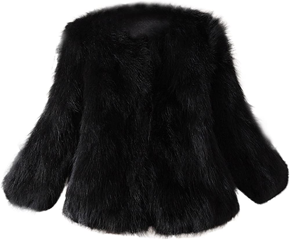 ManxiVoo Womens Winter Warm Fluffy Faux Fur Coat Long Sleeve Short Fur Jacket Outwear for Wedding Party