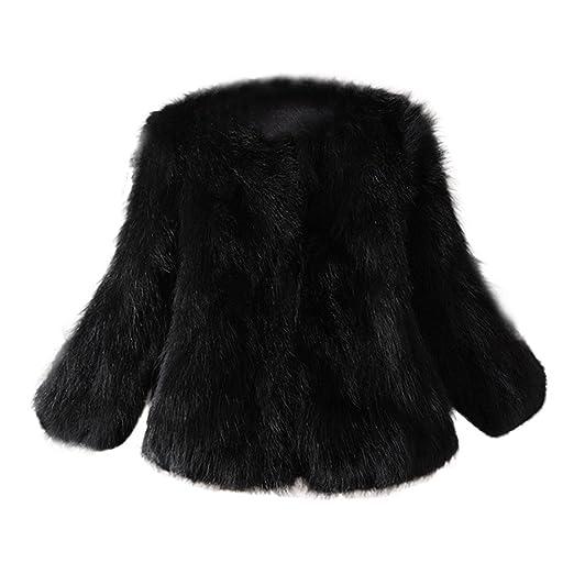 Lazzboy Damen Kurze Mantel Kunstpelz Kunstfell Cardigan Felljacke Jacke Strickjacke Outwear