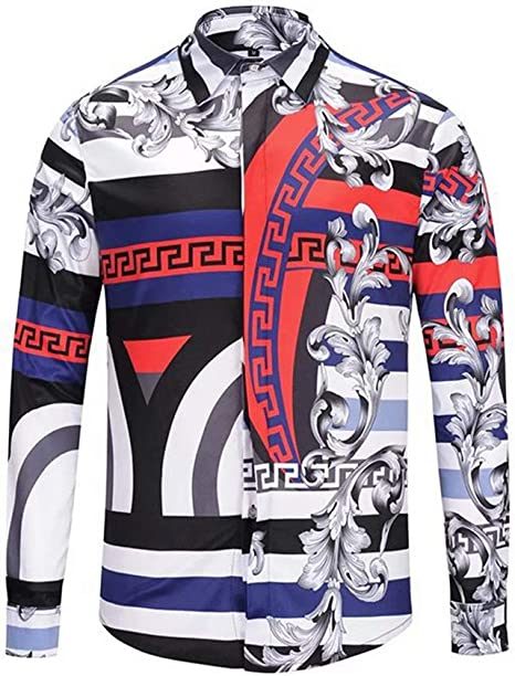 MAYUAN520 Camisa de Hombre Primavera Otoño Hombres Camiseta Medusa Medusa Harajuku Shirts Hombres Imprimir Shirs Retro Manga Larga Floral Patchwork Hombres Superior,Multi,M: Amazon.es: Deportes y aire libre