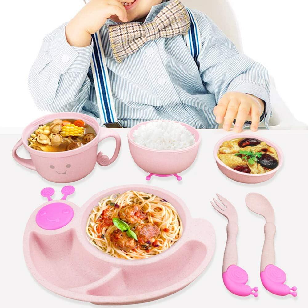 Wilk B/éb/é Ensemble dalimentation Plate Divis/é Enfant en Forme Descargot avec Cartoon Fourchette Cuill/ère Et Tasse De Paille De Bl/é Tout-Petits Dining Set Rose