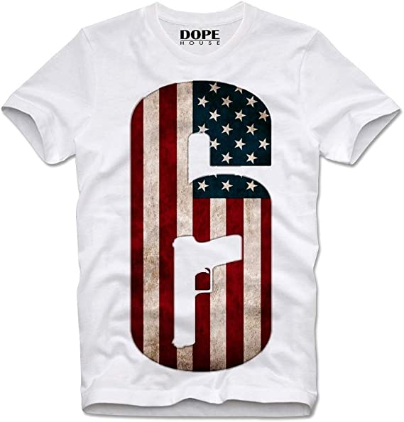 DOPEHOUSE T-Shirt Camiseta Rainbow 6 Six Gun USA Flag Retro Vintage Gamer Gaming: Amazon.es: Ropa y accesorios