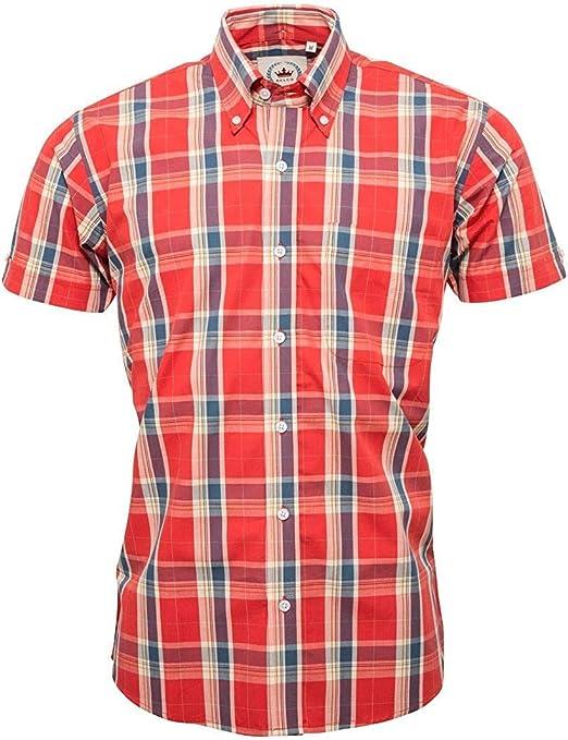 Relco Womens Burgundy Yellow Tartan Check Short Sleeve Button Down Collar Shirt