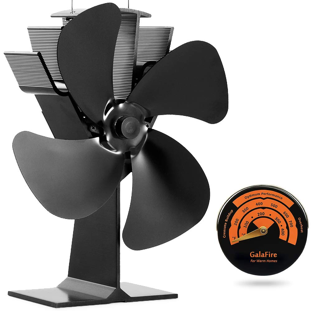 GALAFIRE [ 2 Years ] Eco Heat Powered Wood Stove Fan for Gas/Pellet/Log/Wood Buring Stoves, Fireplace Fan 4 Blade Black + Stove Thermometer by GALAFIRE