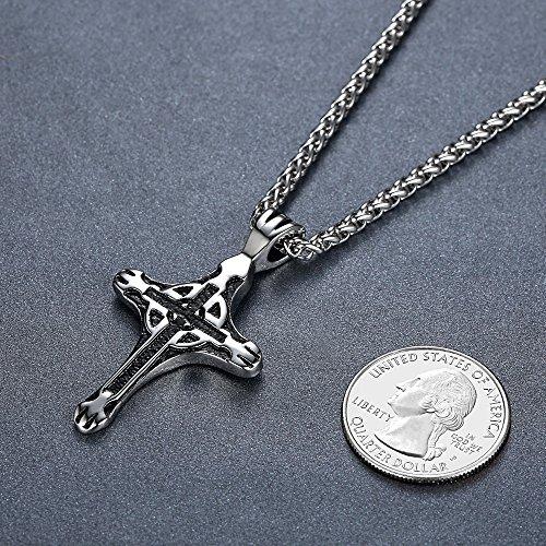 Aoiy - Collier avec pendentif hommes - Acier Inoxydable - Croix celtique, chaîne 61cm, aap166