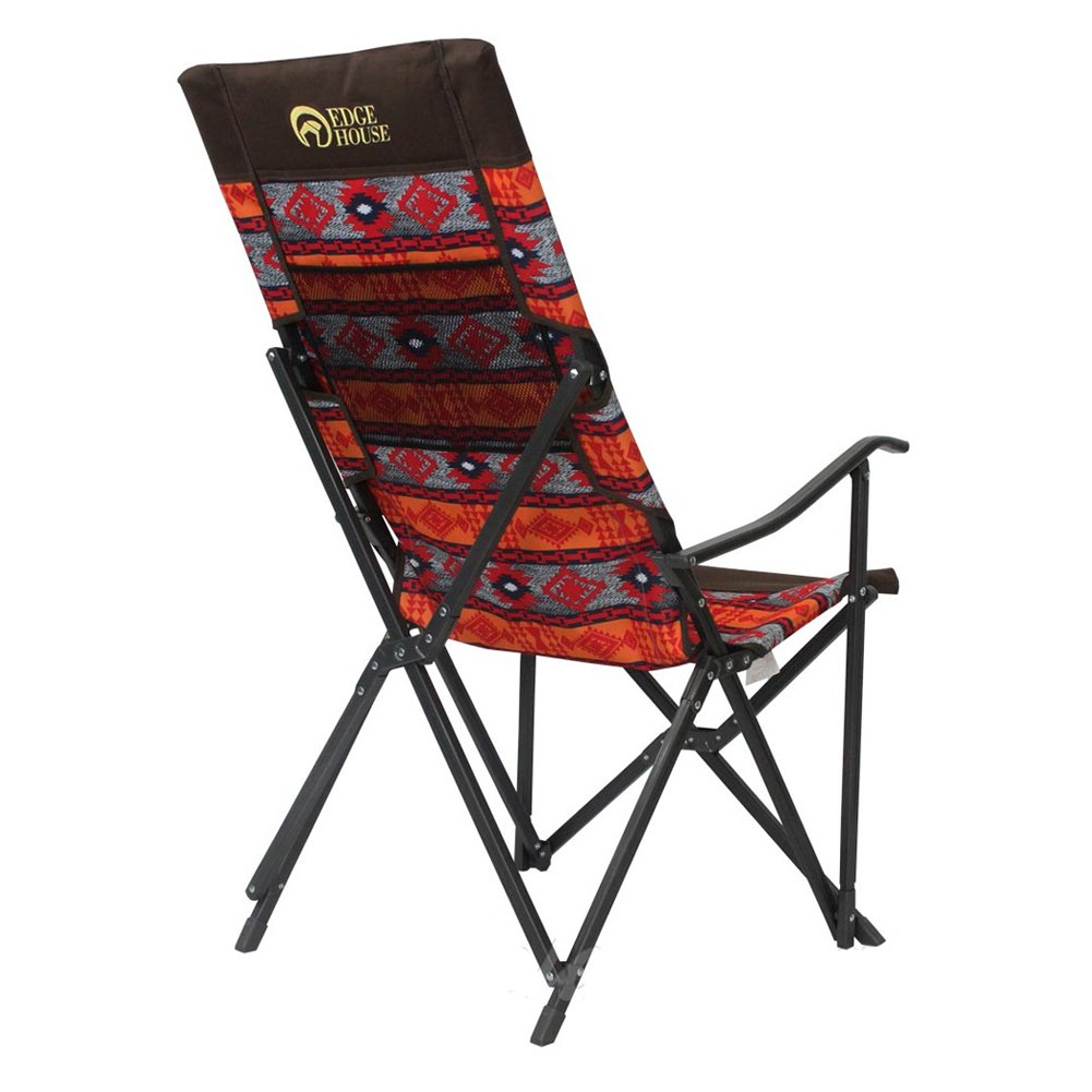 [EDGE HOUSE] High long two fold fabric Relax Chair Indian Pattern in Outdoor EHA-57 & Free Gift (Key Ring) (Orange&Red) by EDGE HOUSE (Image #4)