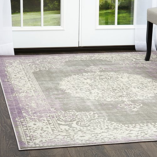 Home Dynamix Sunderland Luna Area Rug   Traditional Style, Splashes of Vivid Color   Durable, Easy to Clean, Wonderful Texture, Excellent Resistance  Light Gray-Violet, 5' x 7'