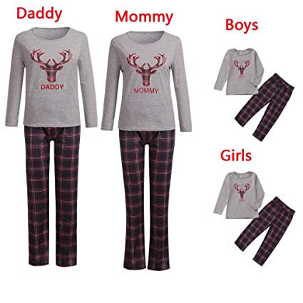 b210944b7d Iusun Matching Family Pajamas Christmas Elk Pattern Long Sleeves Plaid Blouse  Sleepwear Flannel PJs for Men