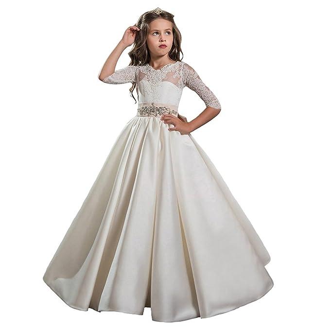 Auxico Satén La más nueva Princesa vestido de niña de las flores de vestido vestido de primera comunión Vestido de fiesta de la boda Vestido de gala ...