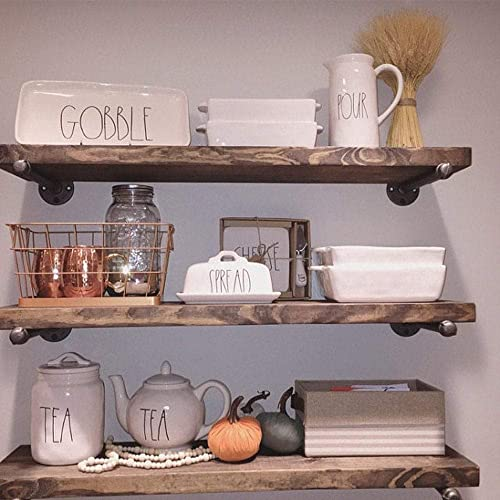 Industrial Floating Shelves Wall Shelf – Floating Shelves Wood Wall Mounted, Hanging Shelves, Floating Shelves Rustic, with Pipe Hardware Brackets Set of 3 1.5 X 7.5 Espresso, 36