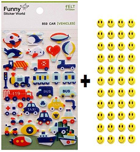 CUTE FELT STICKERS Scrapbooking Korean Japanese Kawaii + 43 FREE Smiley Stickers- FREE USA Shipping - Car, Transporation
