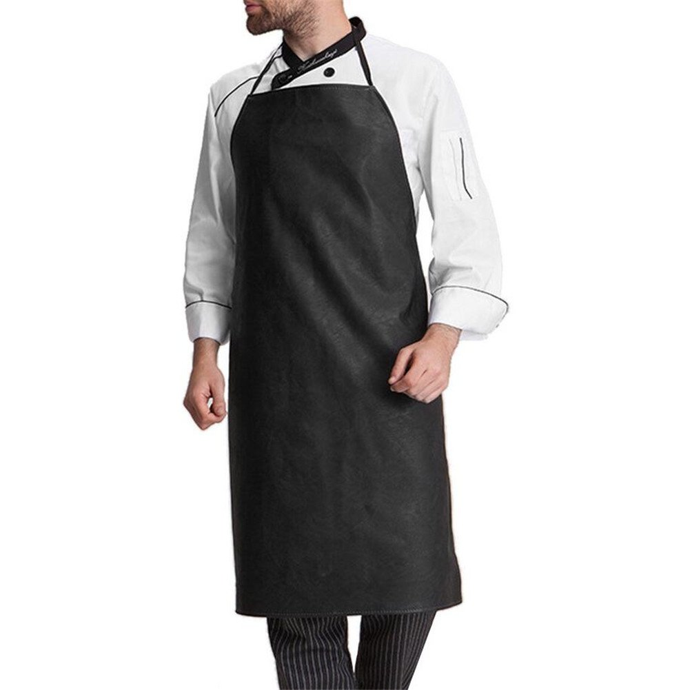 Valink Man Apron, Black Faux Leather Chef Apron, Butchers Apron, Cafe Restaurant BBQ Kitchen Cooking Waterproof Bib Aprons for Mens