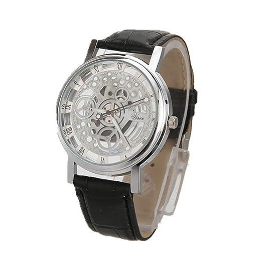 Rosepoem Relojes análogos de cuarzo de caja redonda Relojes minimalistas de lujo Reloj de grabado hueco