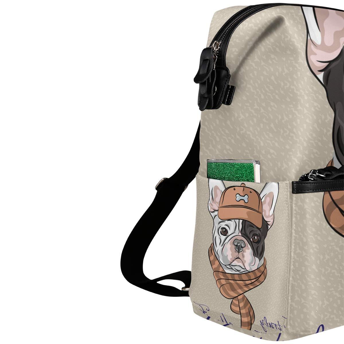 TIZORAX Hipster Französische Bulldogge Welpe Schulrucksack