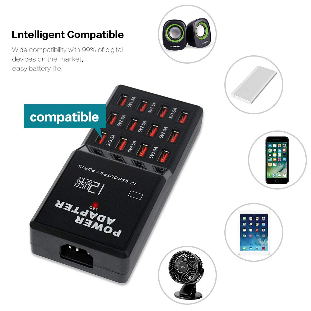 Compatible for Cellphone Tablet PC Digital Camera MP3 3.94FT Cord 12 Ports USB Hub Charger Adapter Intelligent USB Hub Charger